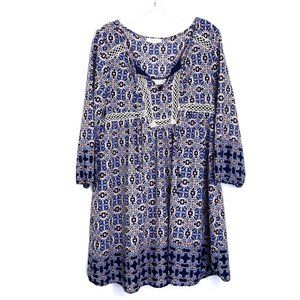 Entro Boho Floral Tunic Lined Dress 3/4 Sleeves L